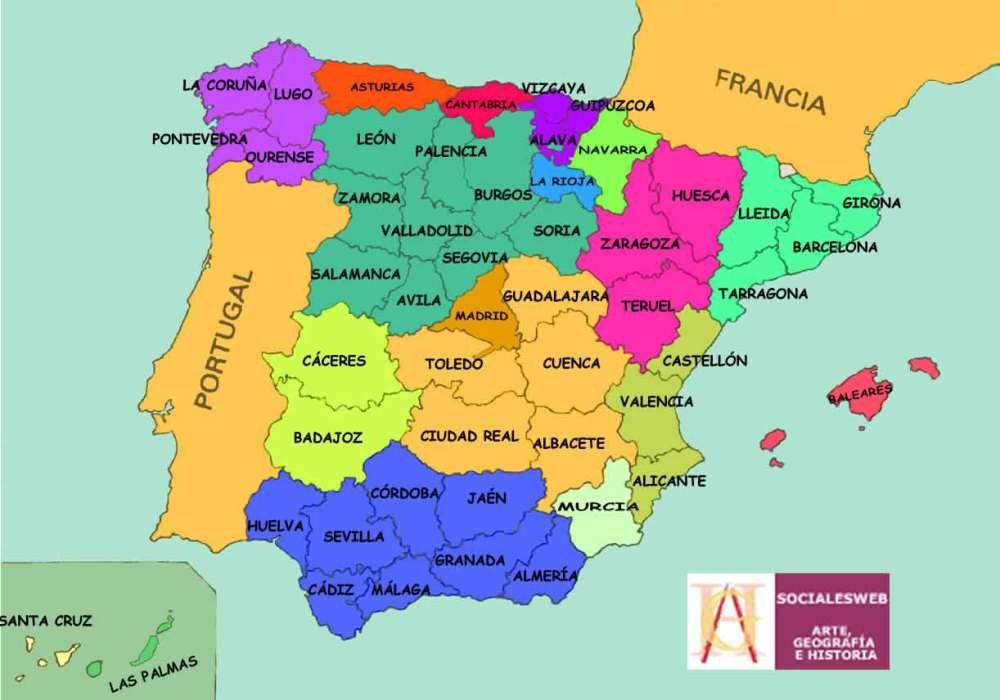 Mapa De Provincias Españolas.Mapas De Espana Fisicos Politicos Y Mudos Provincias