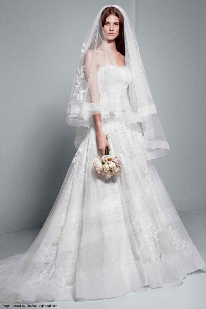 White by Vera Wang Chantilly lace strapless A-line wedding gown long ...