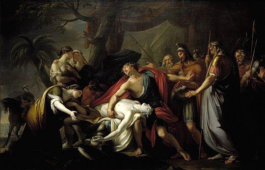"""Homero. Ilíada G. Hamilton (1760-63) """"Aquiles lamenta la muerte de Patroclo"""". National Gallery, London"""