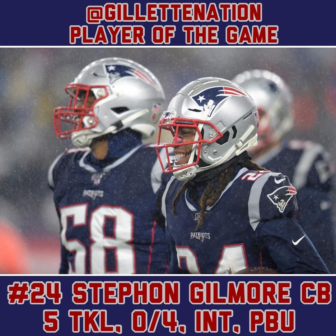 Gillettenation S Week 12 Player Of The Game Gngameday Stephon Gilmore Cb 24 5 Tackles 0 4 Int Pbu