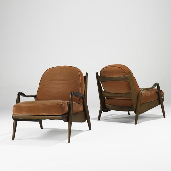 PHIL POWELL Pair Of New Hope Chairs, New Hope, PA, Early 1960s Sculpted