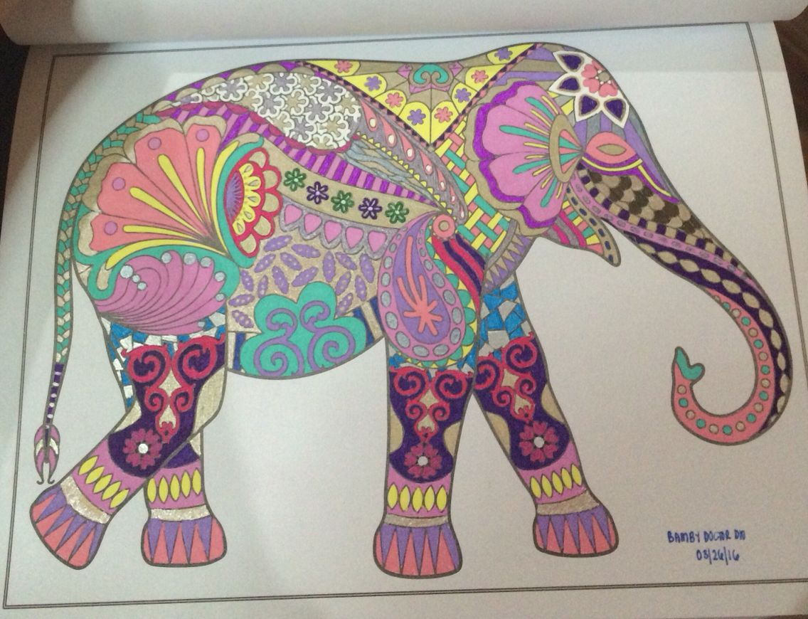 Title The Elegant Elephant Coloring Page Mystical Animals Creative Minds Book For Adults