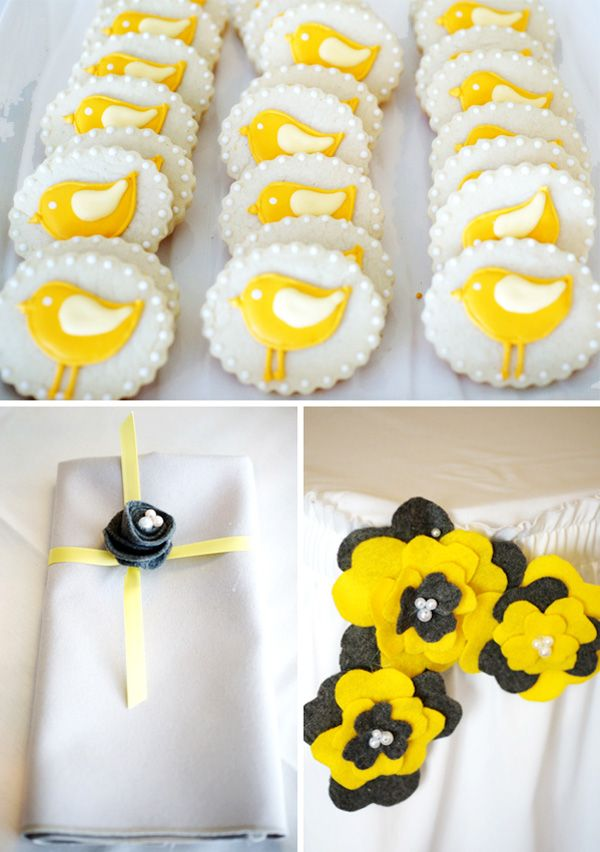 Here's the yellow and gray color scheme. Felt flowers. So easy to make. (Ignore the birds!!!)