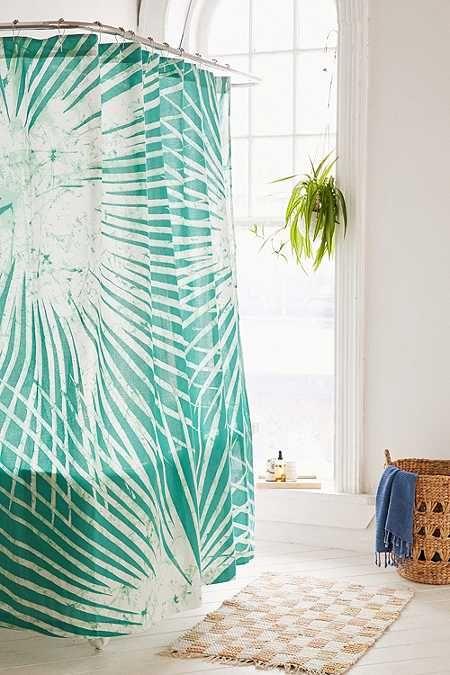 Duschvorhang Mit Palmenprint Im Batik Design