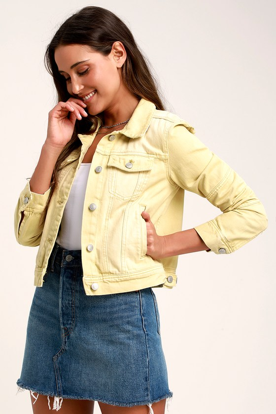 Free People Rumors Light Yellow Denim Jacket Yellow Denim