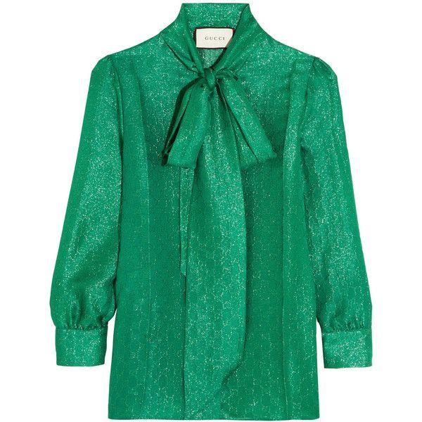 4ffc9d4cd29c Gucci Pussy-bow metallic silk-blend jacquard blouse (5,530 ILS) via Polyvore