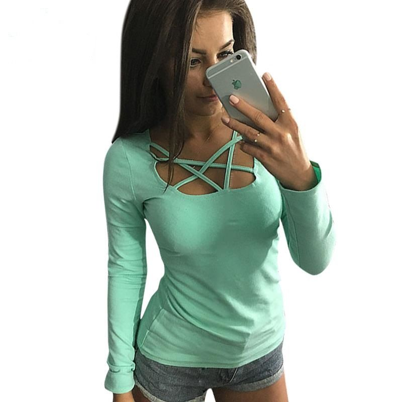 2017 T Shirt Women Shirt Fashion Long Sleeveed Slim Fit Casual Hollow Out Tops Tee Femme Solid Ladies Tops Women Clothes LJ4515X