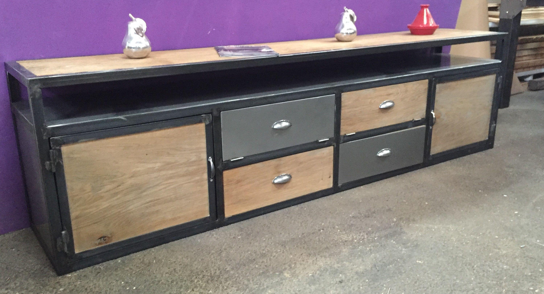 Pingl Par John Reyneke Sur Metal Wood Furniture Pinterest  # Meuble Tv Artisanal