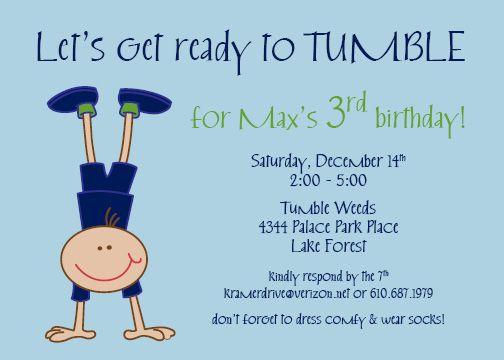 gymnastics boy party invitation luke pinterest party