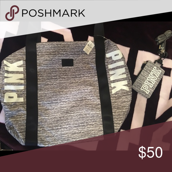 Vs pink Marl grey duffle & lanyard ! New ✨ PINK Victoria's Secret Bags Mini Bags