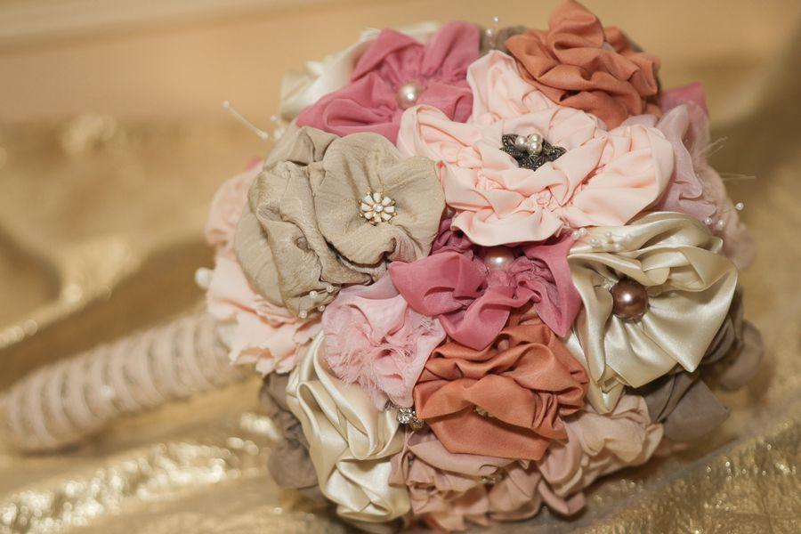 Fabric flower bouquet http://www.diybride.com/blog/2013/08/28/christa-marvins-diy-art-inspired-wedding/