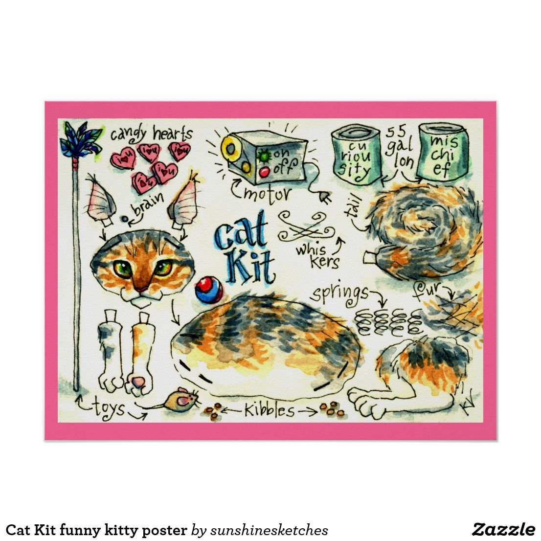 Cat Kit Funny Kitty Poster Zazzle Com Cats Kittens Funny