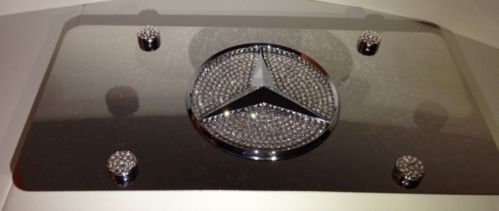 Beautiful Mercedes Mirror Vanity Front License Plate Frame 1mmHeavy Duty Swarovski  Crystal