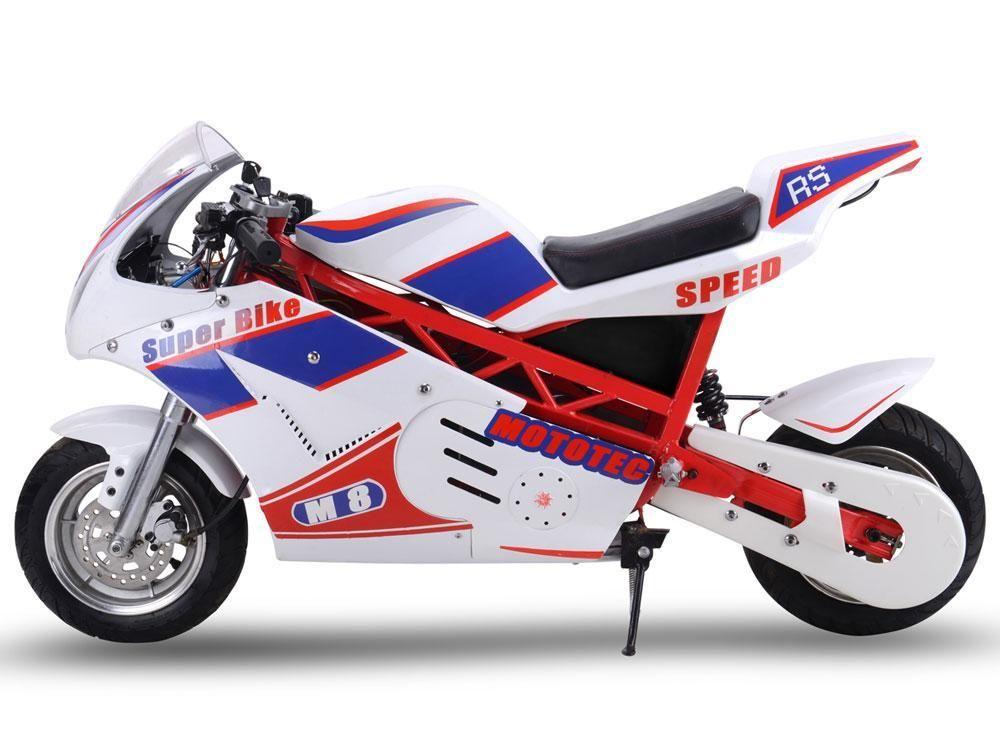 MotoTec MT-EP-Super-White 48v 1000w Electric Superbike White | grage