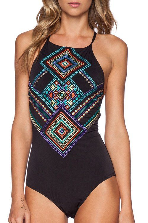 Printed Lace Up Backless One Piece Swimwear | Lifestyle
