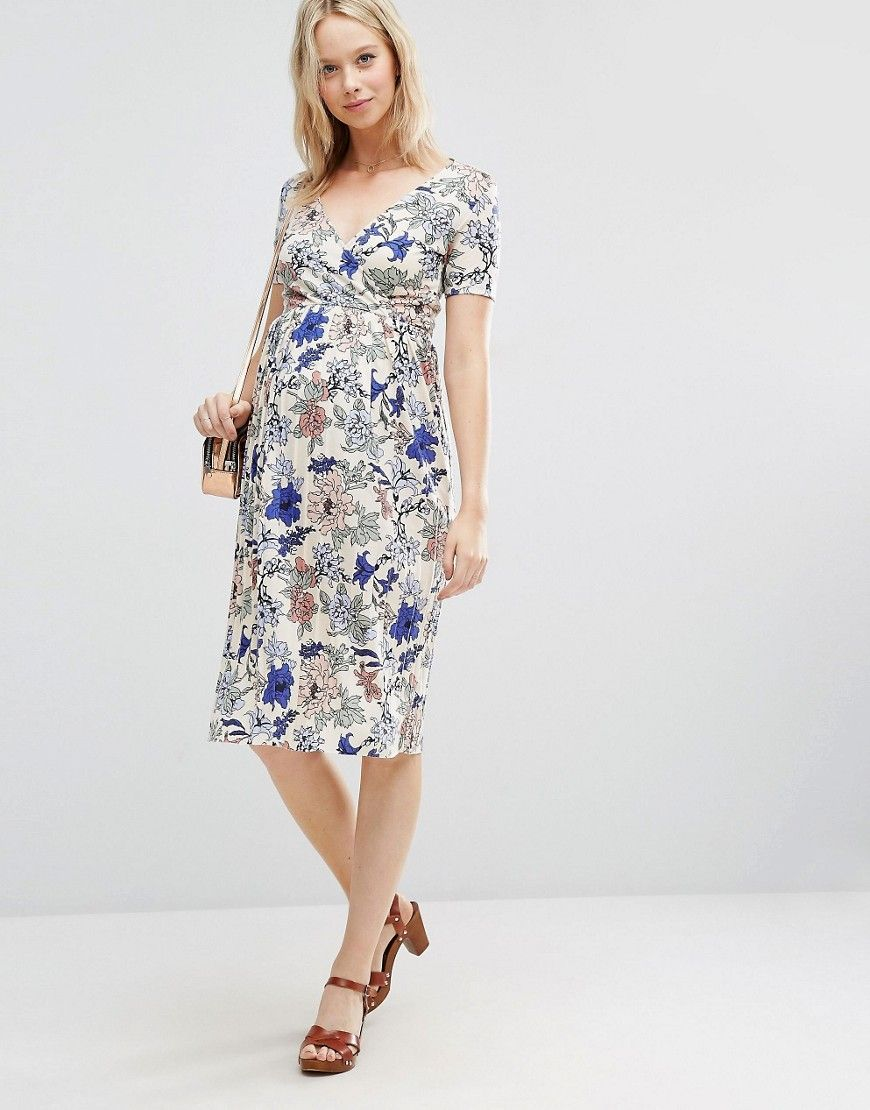 cbecc721ce7e3 Image 4 of ASOS Maternity Wrap Midi Dress with Pleated Skirt in Floral Print