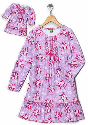 6e843acc52b8 Purple Penguins Winter Nightgown Size 7   Matching 18