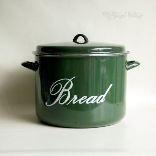 Vintage Rustic Judge Green Enamel Round Bread Bin
