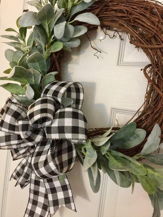 Photo of Lambs Ear Wreath, Farmhouse Fall Wreath, Buffalo Plaid Fall Wreath, Farmhouse Spring Wreath, Neutral Fall Wreath, Winter Farmhouse Wreath
