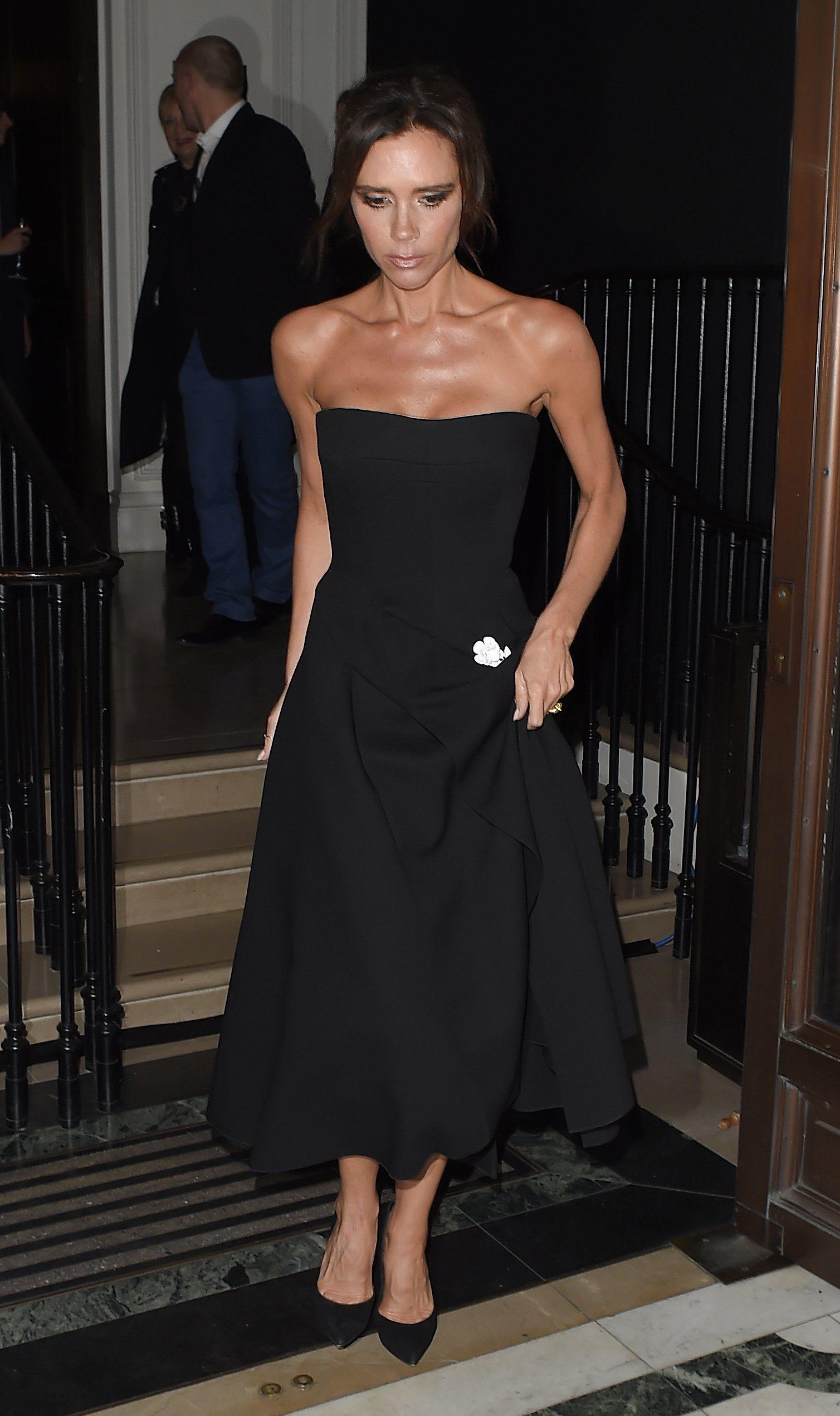The Striking Transformation Of Victoria Beckham S Little Black Dress Strapless Dress Formal Dresses Black Dress [ 2540 x 1508 Pixel ]