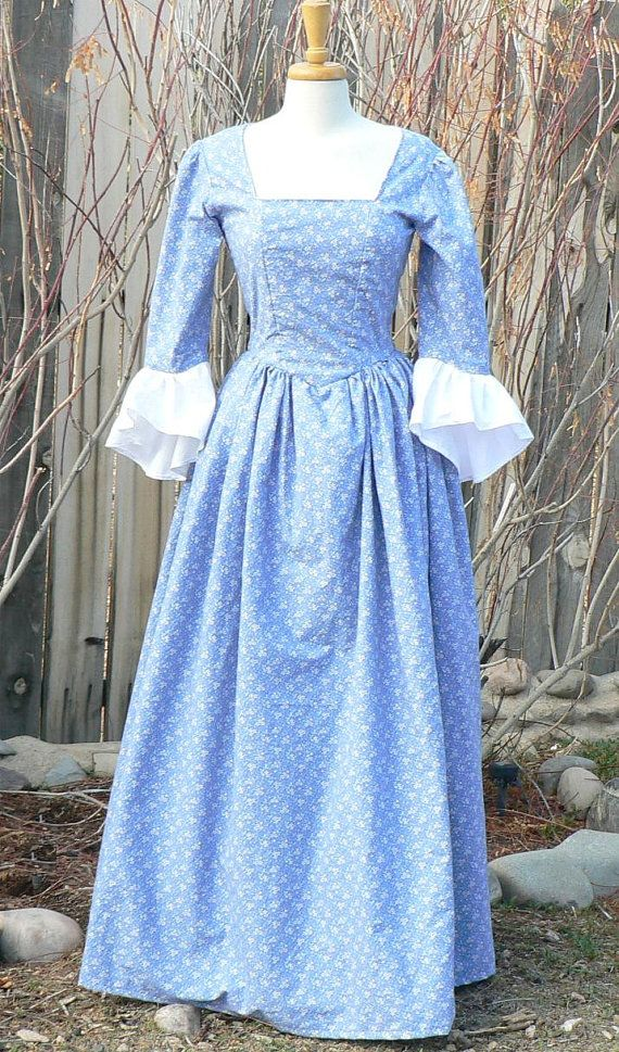 Colonial 18th Century Dress Cotton Historical Day Gown Floral | wish ...