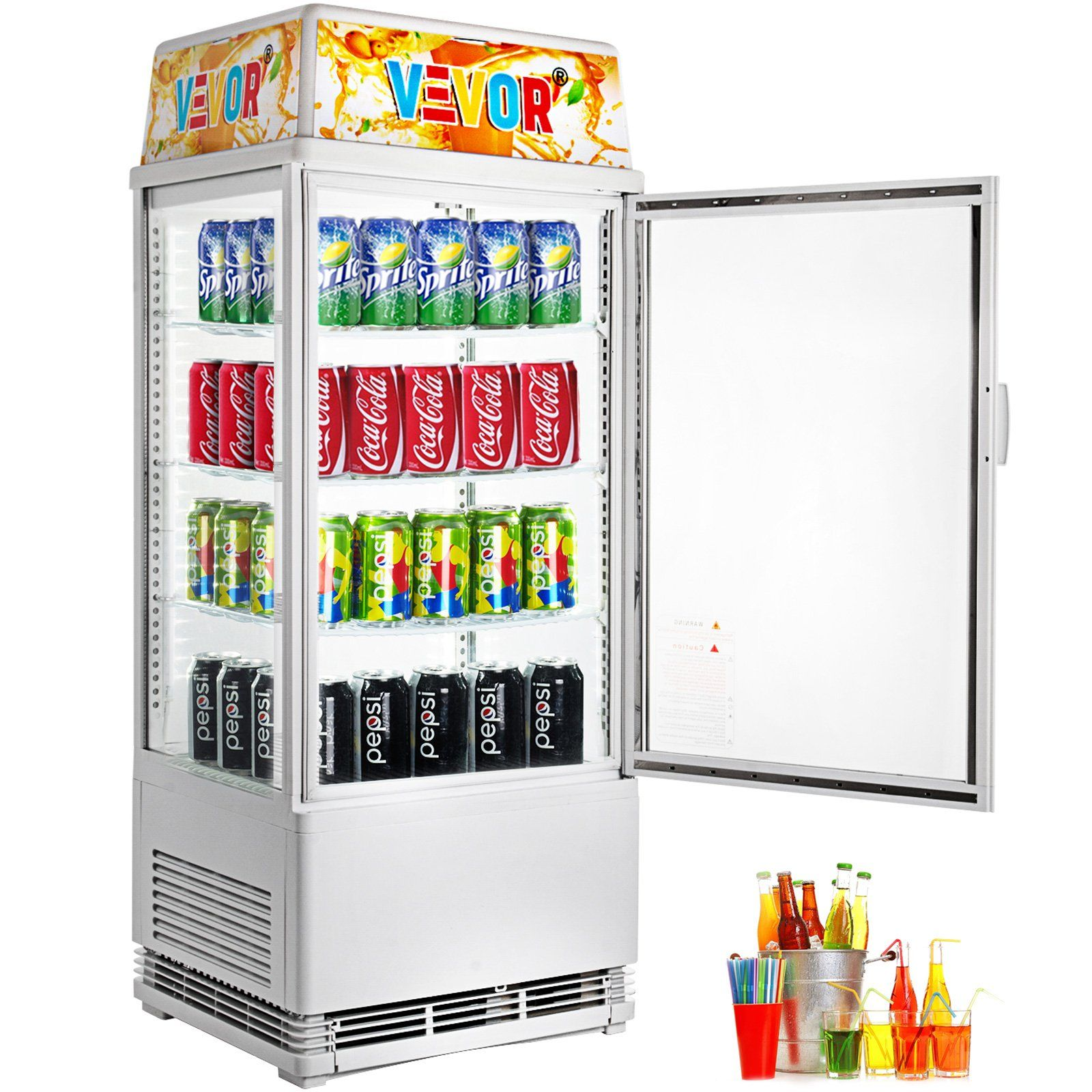 2 75 Cu Ft Commercial Beverage Refrigerator 78l Glass Countertop