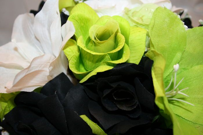 Round wedding bridal bouquet lime green black white lily silk round wedding bridal bouquet lime green black white lily silk flowers 10 pc mightylinksfo Images