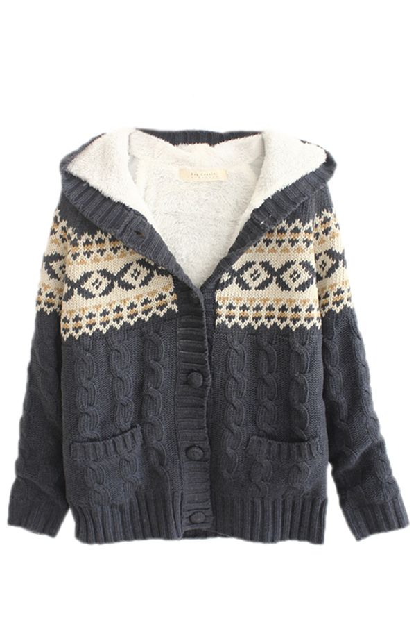 Gray Sexy Ladies Pattern Hooded Cardigan Christmas Sweater Cheap
