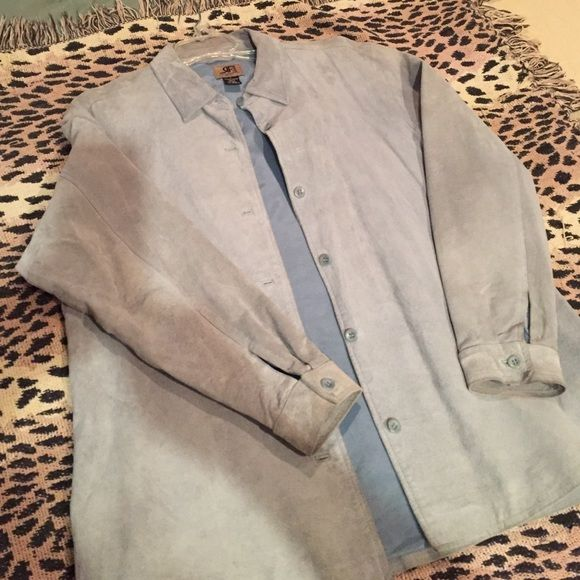 Suede blazer/jacket Beautiful baby blue suede jacket/blazer. Buttons down front, cuffed arms with button and 3 inch slit on both sides. In great condition . Wear with shirt or by self. Jackets & Coats Blazers
