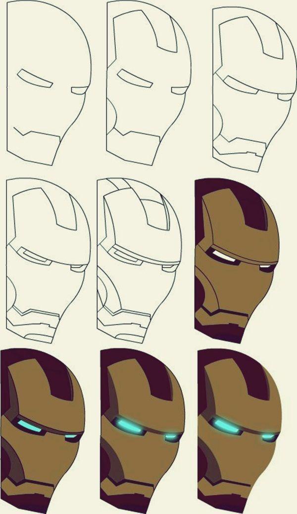 Wie zeichnet man Iron Man: 10 Schritt für Schritt Beispiele   – Art