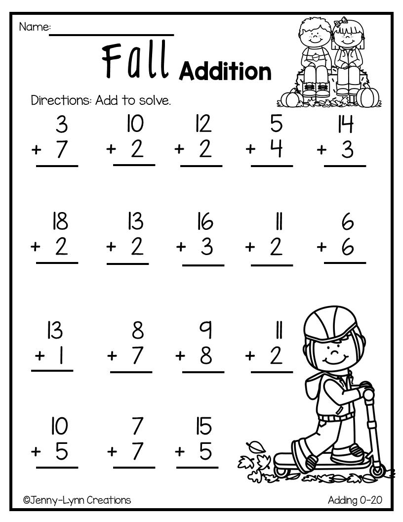 Fall Addition | Kids math worksheets, Math worksheets, Math ...