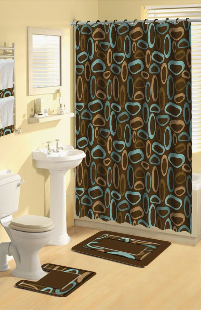 Modern Geometric Brown Oval Rings 17 Pc Bath Rug Shower Curtains Hooks Towel Set In Shower Curtains Ebay Modern Shower Curtains Home Dynamix Shower Curtain