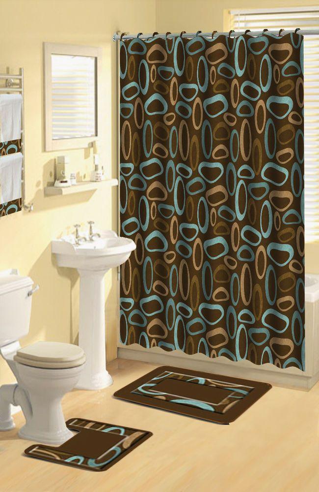 Modern Geometric Brown Oval Rings 17 Pc Bath Rug Shower Curtains