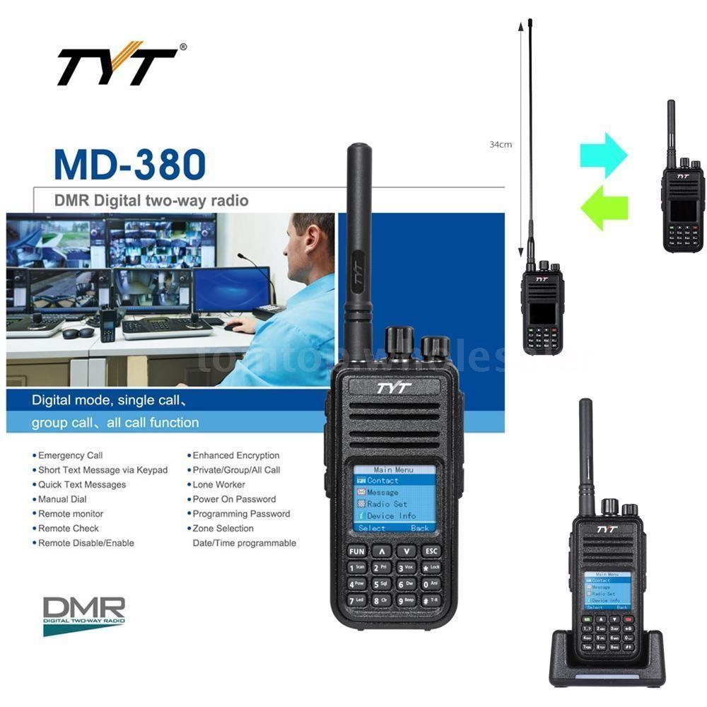Tyt Md-380 Dtmf Uhf Dmr Digital Mobile 2-Way Radio Walkie Talkie Lcd