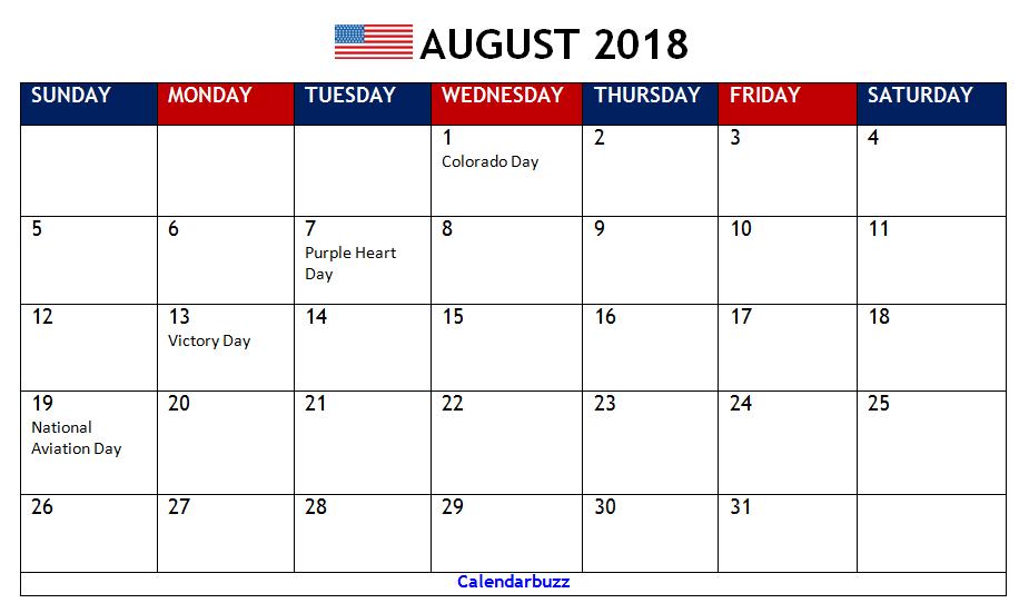 August 2018 Calendar With Holidays Printable | 2018 Calendar