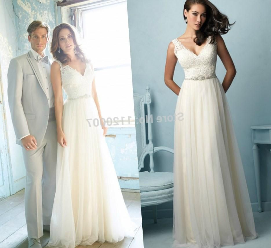 Elegant Plus size Lace Wedding Dresses Vintage Beach Bridal Gowns ...