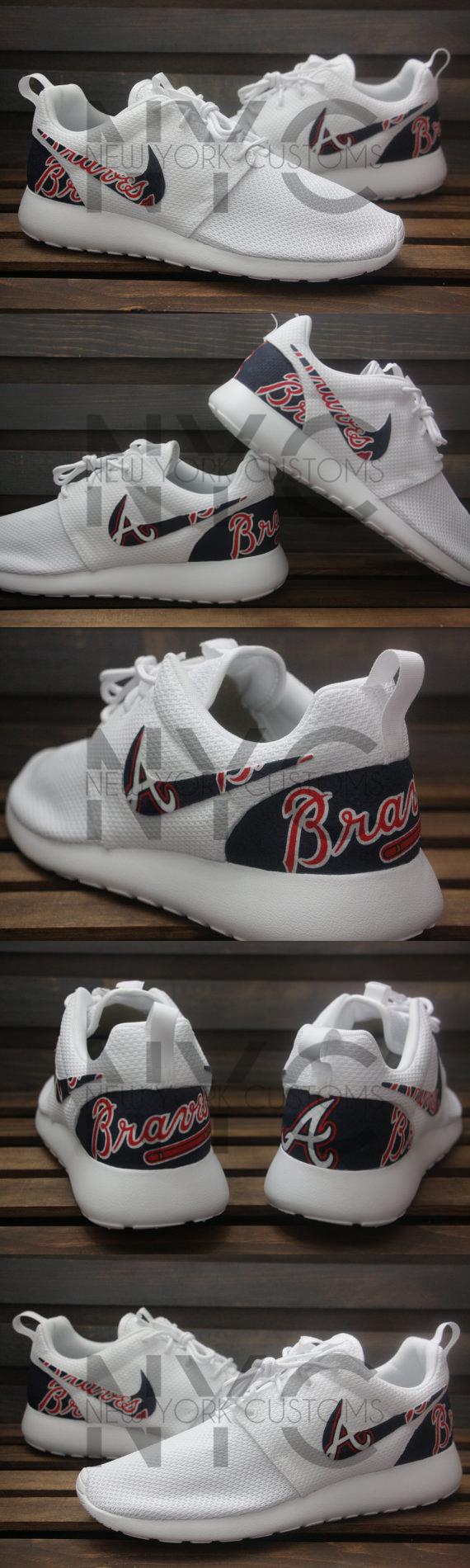 Nike Roshe Run Triple White Atlanta Braves Custom Men Women Roshes Sneaker Head