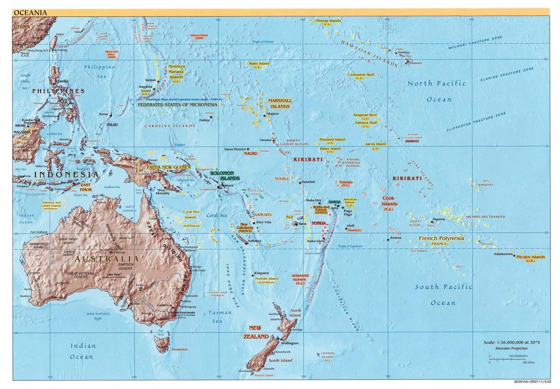Large detailed political and relief map of Australia and Oceania