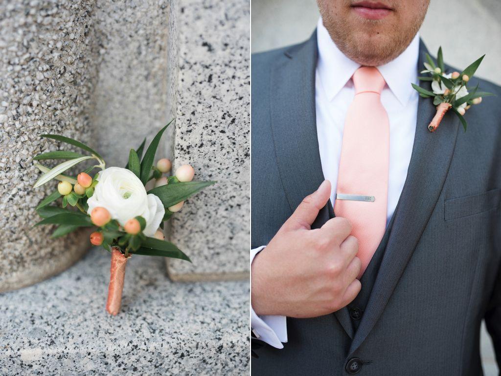 White Ranunculus Boutonniere Peach Coral Mens Wedding Flowers Utah Calie Rose