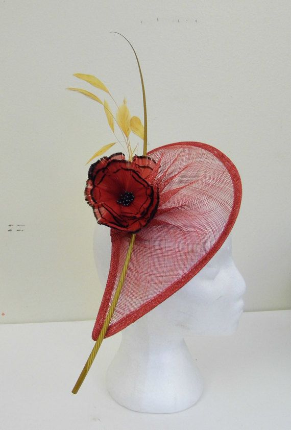 d8c459bc7b9b5 Fascinator Red and Gold by ynasbridal on Etsy