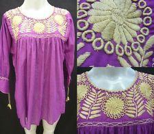 VTG mão bordados 100% algodão 70s blusa mexicano encaixa ML Chiapas