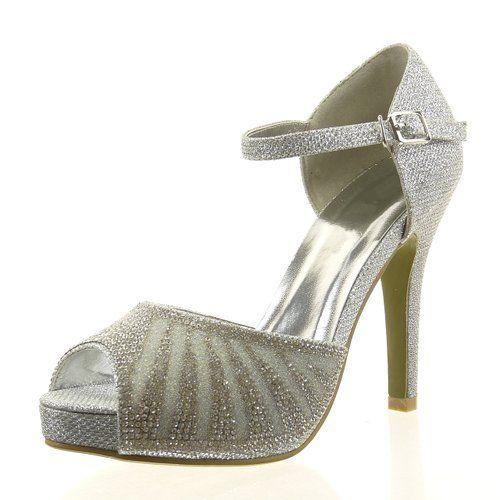 6dac6a8b90e927 36 Sopily - damen Mode Schuhe Pumpe Offen Strass glitzer - Silber  CAT-10-SH1604 T 39