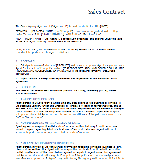 Sales Contract Template | Business | Pinterest