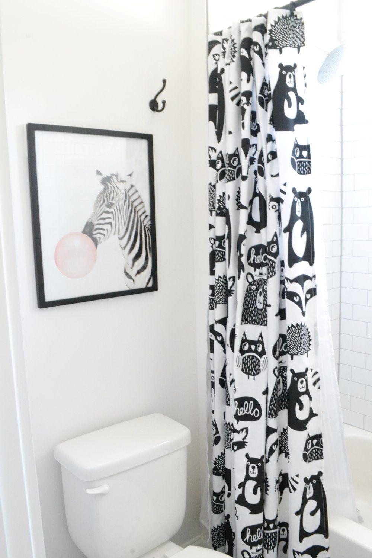 A Classic Black And White Bathroom Kid Bathroom Decor Kids Bathroom Shower Curtain Modern Kids Bathroom