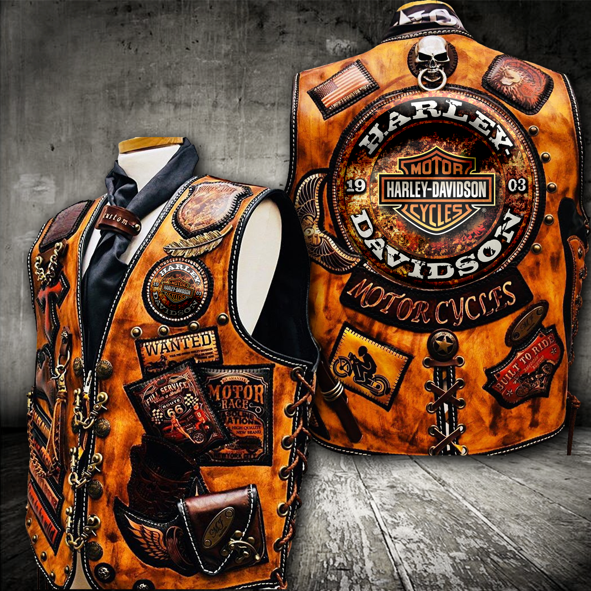 Sleeveless Orange Vest Harley Davidson | Кожаные подарки ...