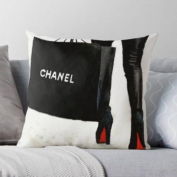 #ChanelHomeDecor #LouboutinHomeDecor  Chanel Pillow Glam Pillow Cover Decorative Pillow Cover