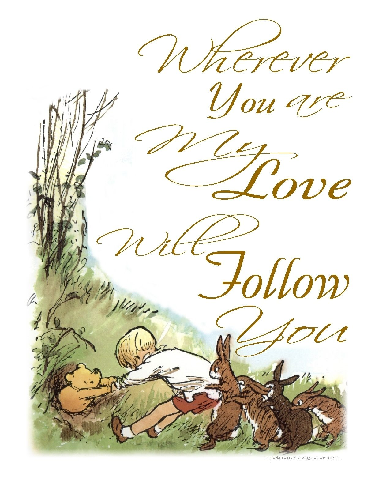 Pooh Love Quotes Classic Winnie The Pooh Nursery Wall Art Printmy Love Will Follow
