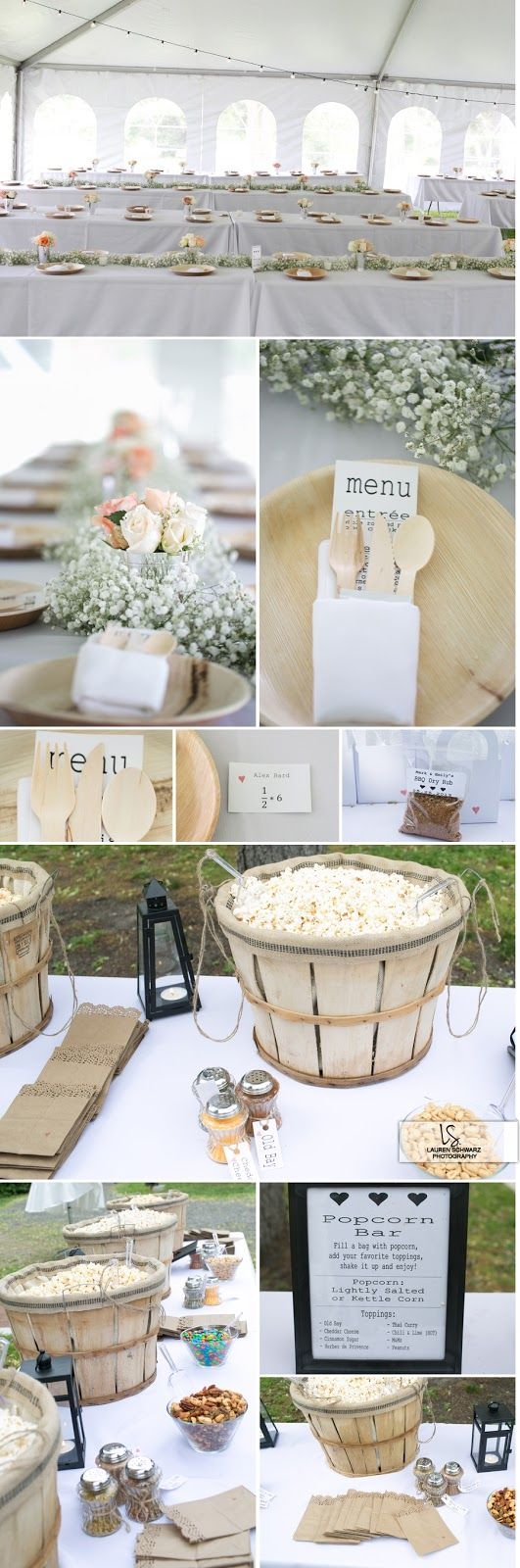 BBQ wedding complete with popcorn bar and wooden utensils and plates ...