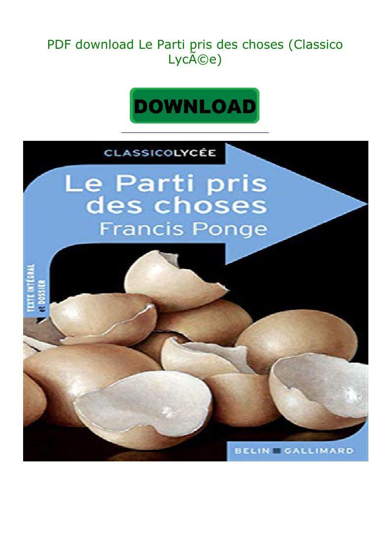 Le Parti Pris Des Choses Pdf : parti, choses, Download, Parti, Choses, (Classico, Lycée), Food,, Breakfast,