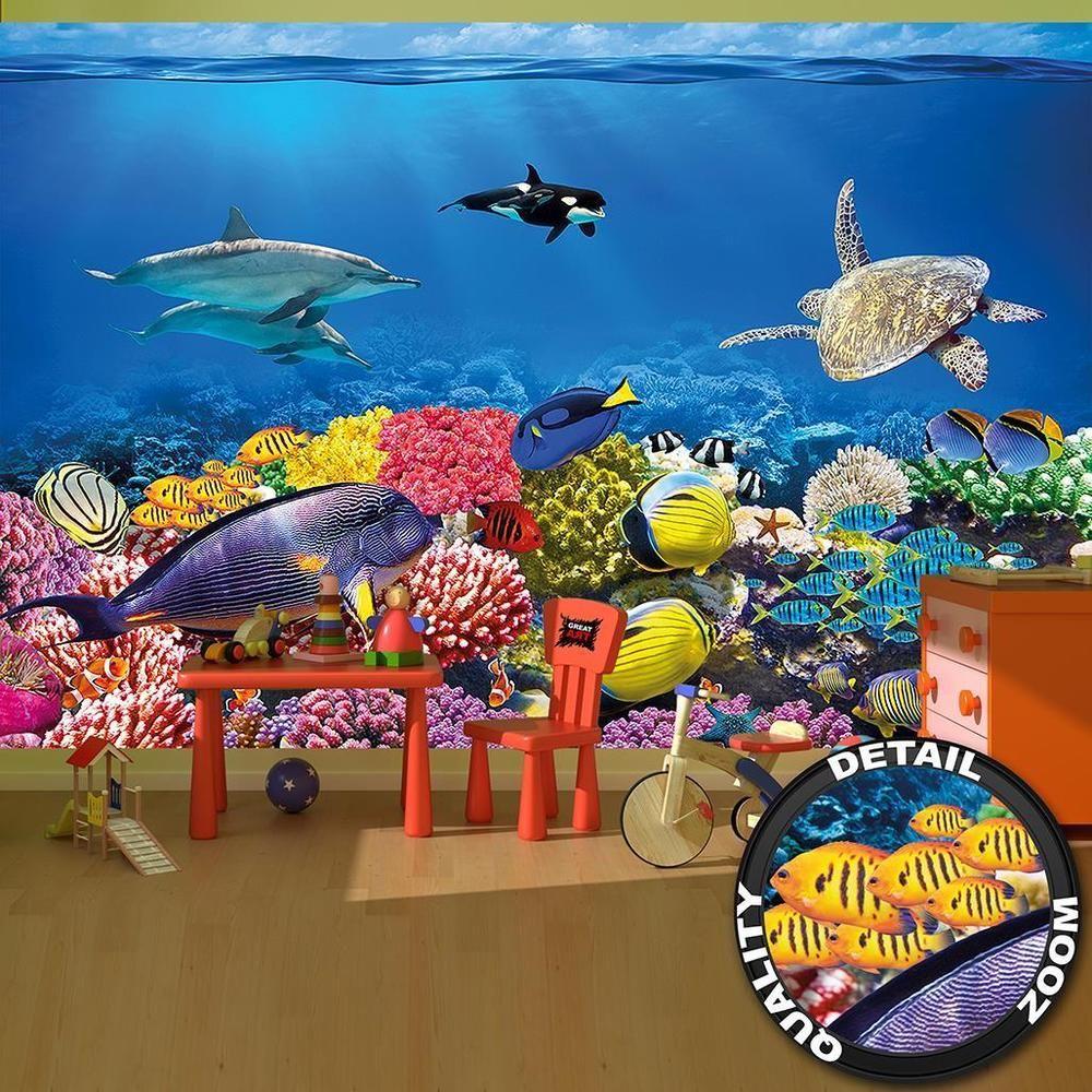 Fototapete Korallenriff mit Fischen  Vliestapete Tapete